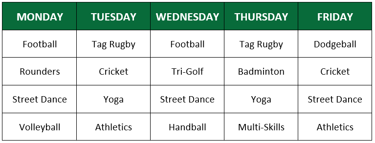 Holiday camp example timetable